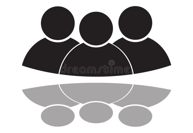 Isolerade den plana affären för tre person design för symbolssymbolillustration royaltyfri illustrationer
