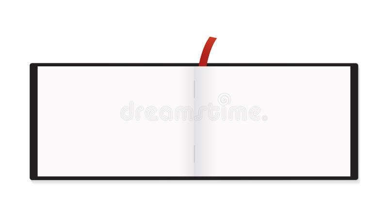 Isolerade den röda bokmärkemodellen för horisontalnotepaden A5 vektor illustrationer
