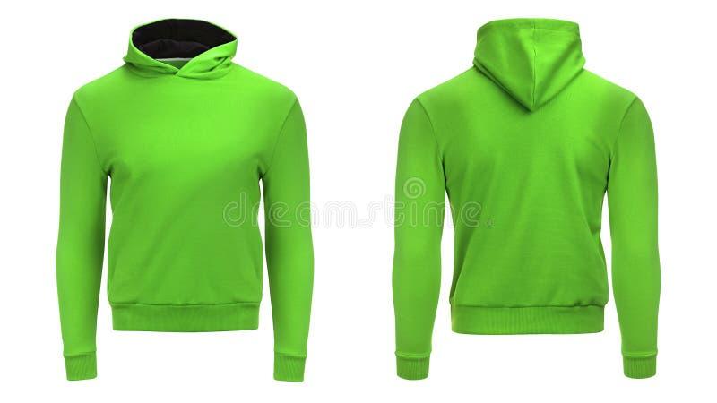 Isolerade den snabba banan för den tomma gröna manliga hoodietröjan, sweatern för designmodell och mallen för tryck, vit bakgrund arkivbilder