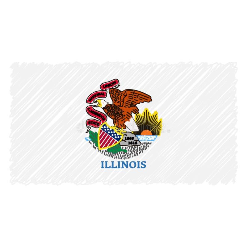 Isolerade den utdragna nationsflaggan för handen av Illinois på en vit bakgrund Vektorn skissar stilillustrationen royaltyfri illustrationer