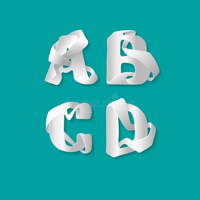Isolerade det dekorativa alfabetet 3d för vektorn uppsättningen av uppercase bokstäver Vit elegant bokstav A, B, C, D Stilsort av vektor illustrationer