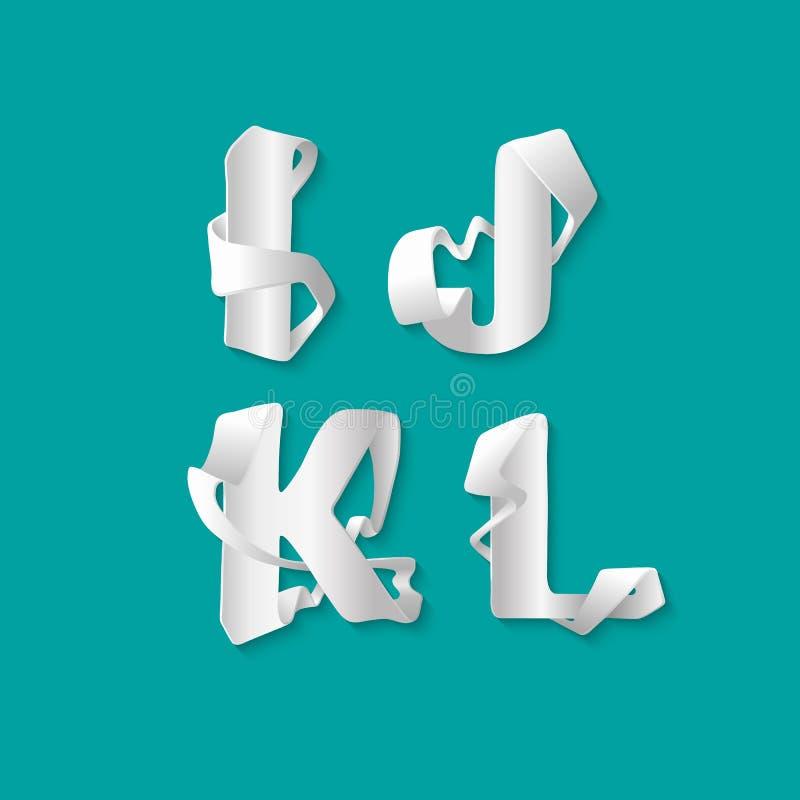 Isolerade det dekorativa alfabetet 3d för vektorn uppsättningen av uppercase bokstäver Vit elegant bokstav I, J, K, L Stilsort av royaltyfri illustrationer
