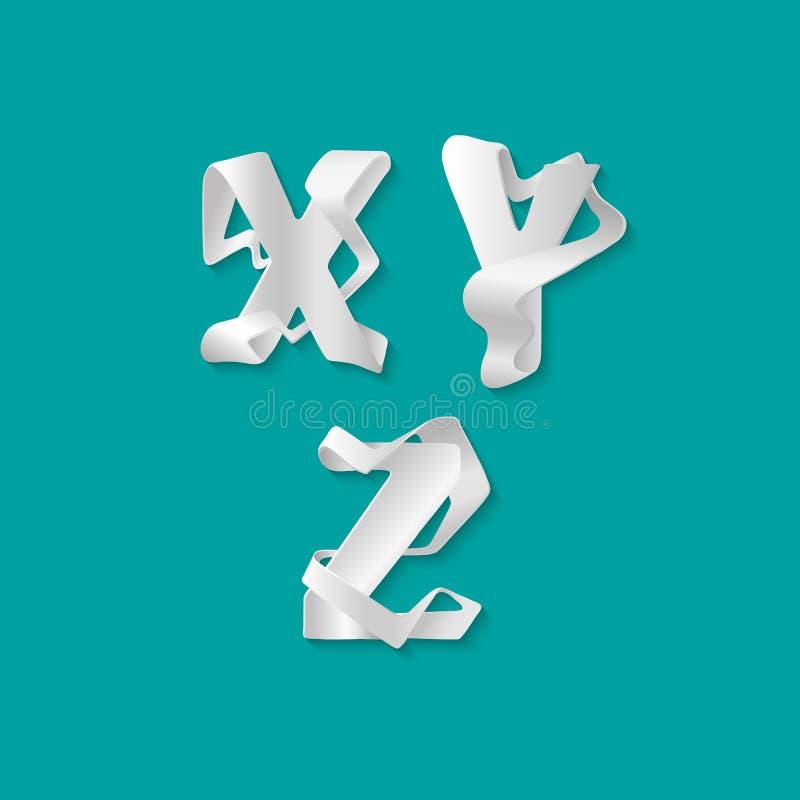 Isolerade det dekorativa alfabetet 3d för vektorn uppsättningen av uppercase bokstäver Vit elegant bokstav X, Y, Z Stilsort av at royaltyfri illustrationer