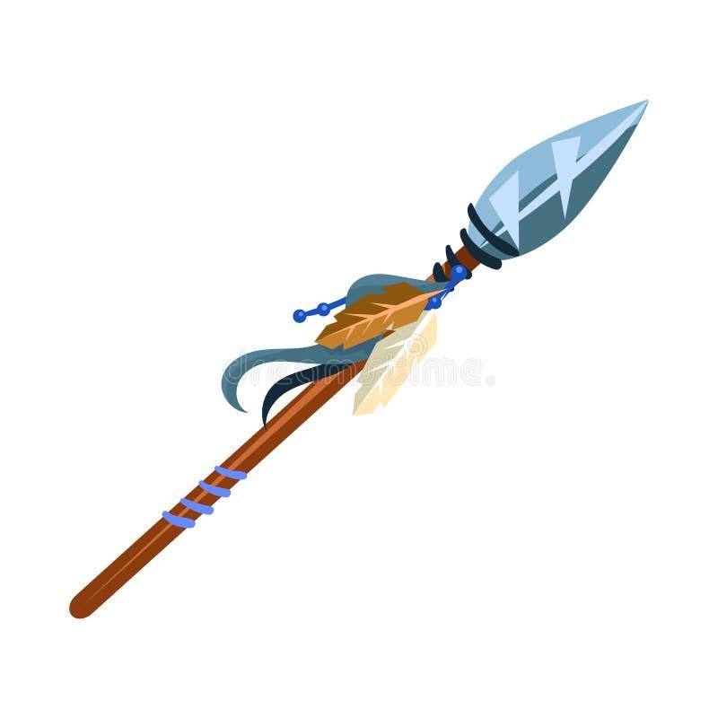 Isolerade det kalla vapnet för krigarespjutet, indiskt kultursymbol för indian, etniskt objekt från Nordamerika symbolen royaltyfri illustrationer