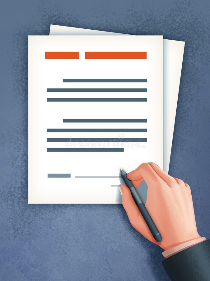 isolerade det kontant avtalsavtalet för affärsmannen pengar betalad undertecknande white royaltyfri illustrationer