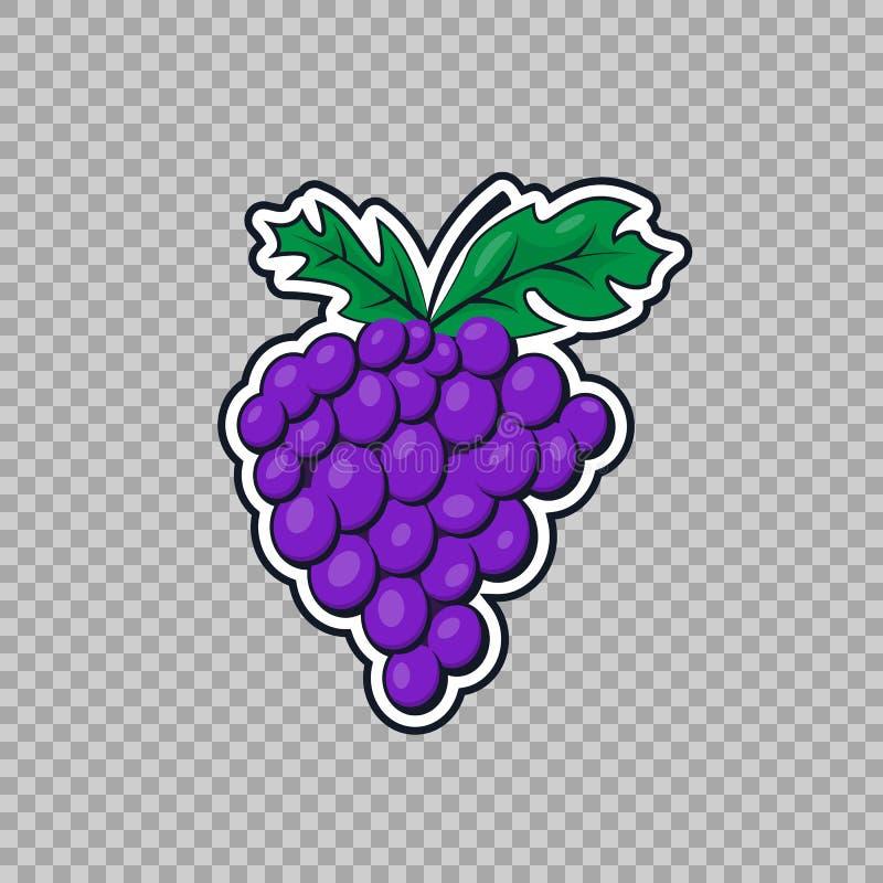 Isolerade druvor i en plan stil Symbolen, ett symbol av frukten på det genomskinliga bakgrundsnaturtemat, mat, vitaminer stock illustrationer
