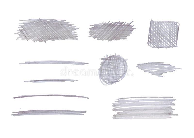 Isolerade enkla blyertspennateckningar för vektor, Gray Color, korset som kläcker, understrykningsslaglängduppsättning royaltyfri illustrationer