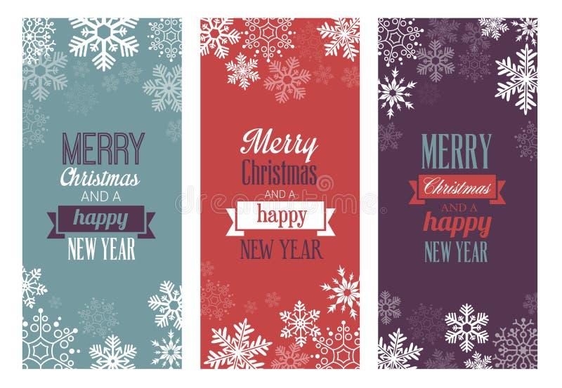 isolerade etiketter för jul garneringar stock illustrationer