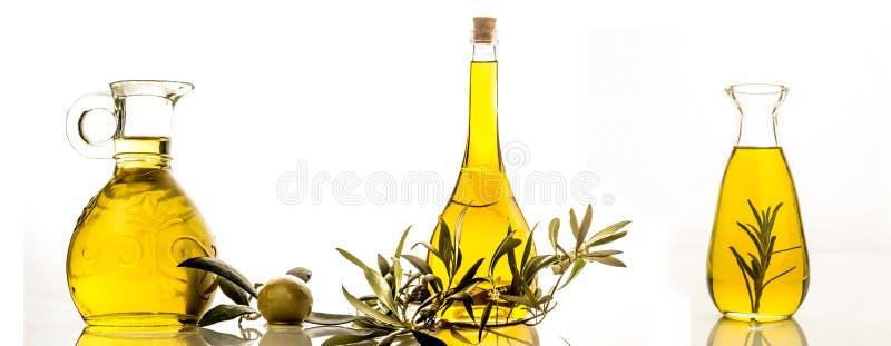 Isolerade extra jungfruliga flaskor för olivolja tre arkivfoton