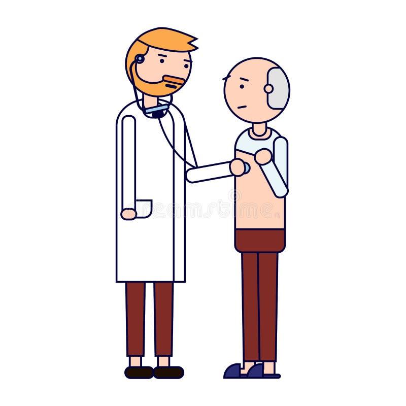 isolerade fängelsekunder för armomsorg hälsa Doktorn undersöker bröstkorgen av patienten bakgrund isolerad white royaltyfri illustrationer