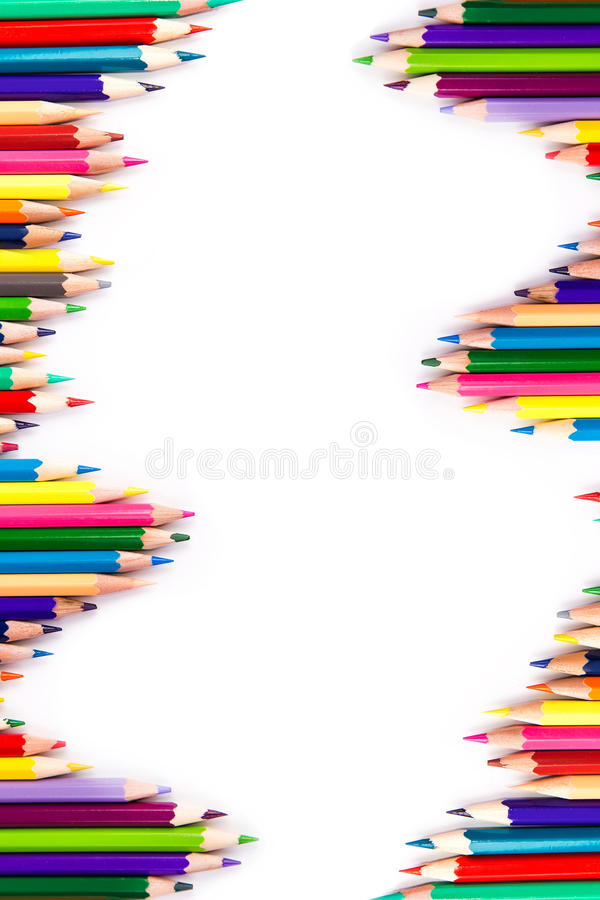 Isolerade färgblyertspennor arkivbild
