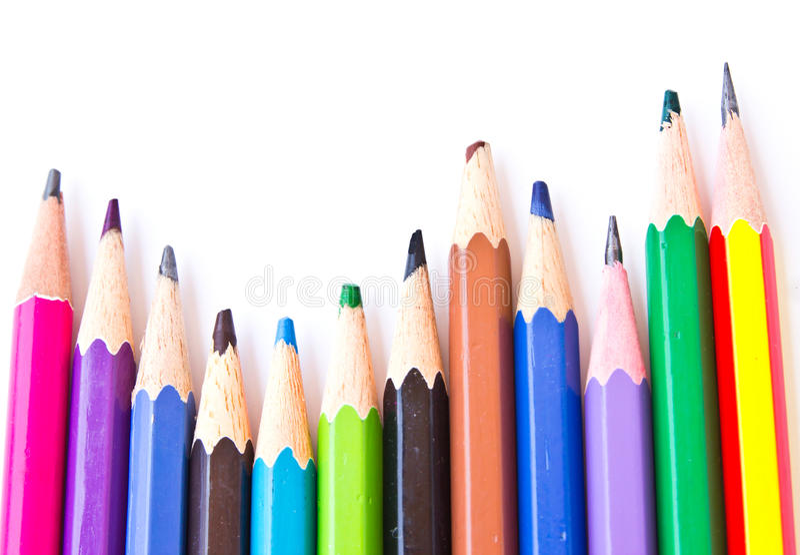 Isolerade färgblyertspennor fotografering för bildbyråer