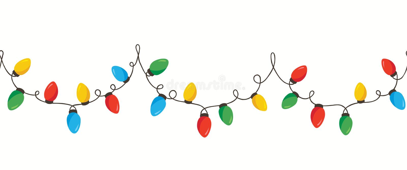Isolerade färgrik Retro feriejul för vektor som det nya året flätade samman radljus, horisontalSeamles gränsbakgrund arkivfoto