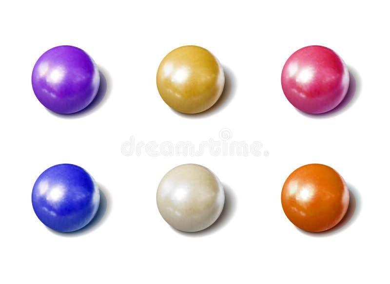 Isolerade färgrika pärlor uppsättningen, Drageegodisar, realistisk illustrationsamling för vektorn för foto arkivbild