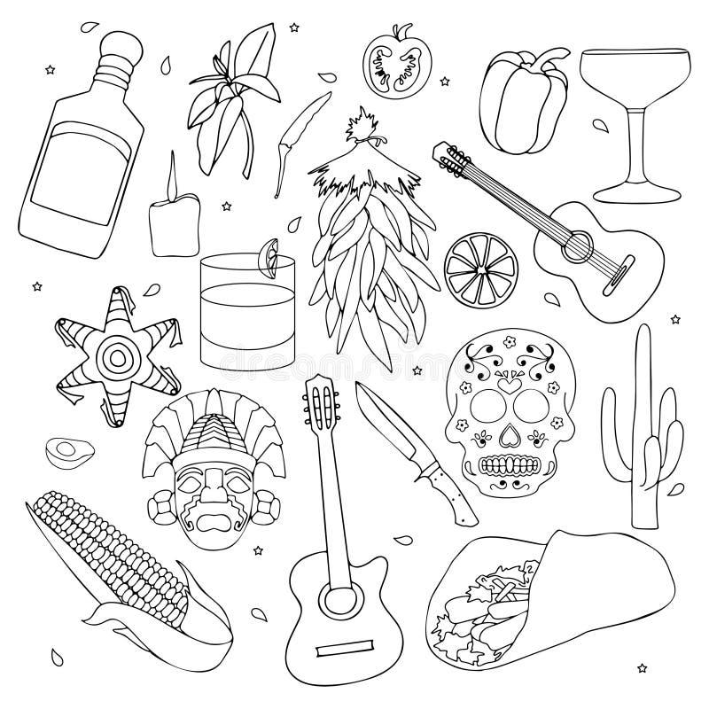 Isolerade färgrika stilfulla beståndsdelar om Mexico Hand dragen samling för Cinco de Mayo beröm vektor stock illustrationer