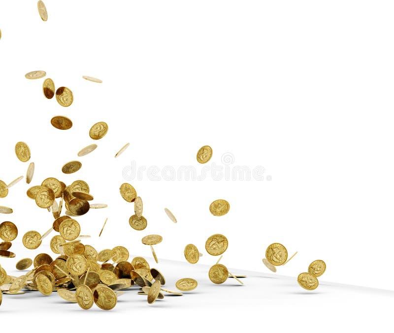 Isolerade fallande guld- mynt vektor illustrationer
