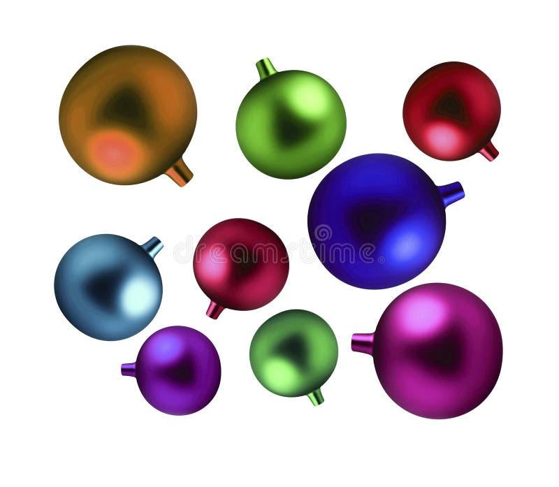 Isolerade flerfärgade bollar för jul royaltyfri illustrationer