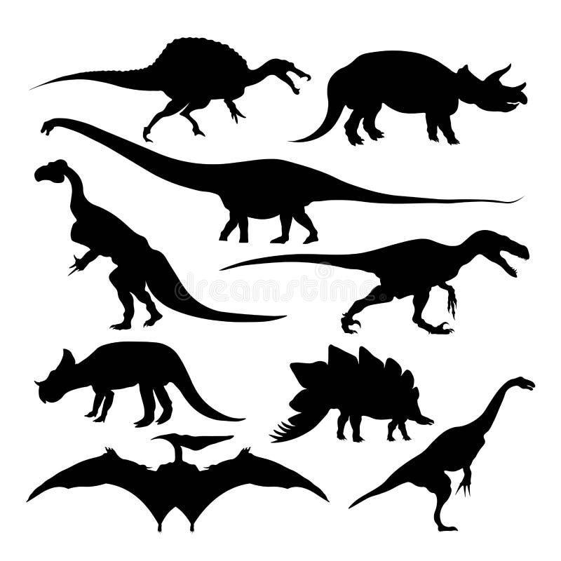 Isolerade forntida djur för dinosauriekonturer slocknad art vektor illustrationer