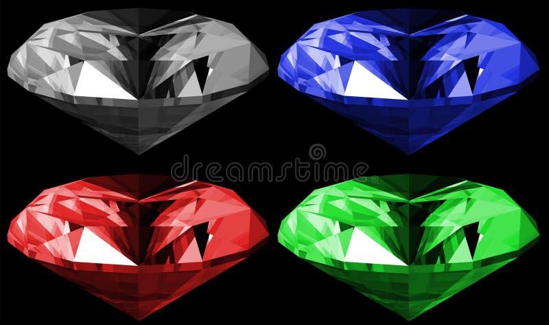 isolerade gems 3d royaltyfri illustrationer