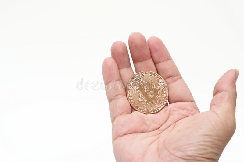 Isolerade guld- bitcoin för den mänskliga för ` s cryptocurrencyen för handen hållande på vit bakgrund Faktiskt digitalt pengarbe fotografering för bildbyråer