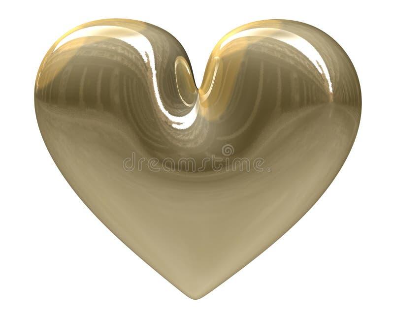 isolerade guld- hjärta 3d xmass vektor illustrationer