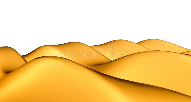 Isolerade guld- sandhills eller dyn stock illustrationer