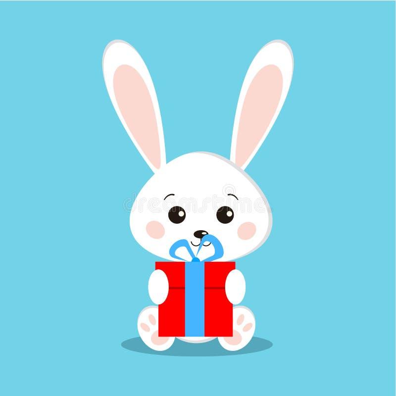 Isolerade gulliga och söta vita kaninkaniner, i att sitta posera med gåvan royaltyfri illustrationer