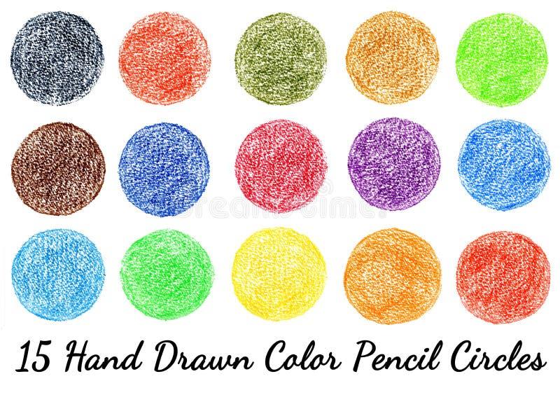 15 isolerade hand-drog cirklar för färgblyertspennatextur royaltyfri fotografi