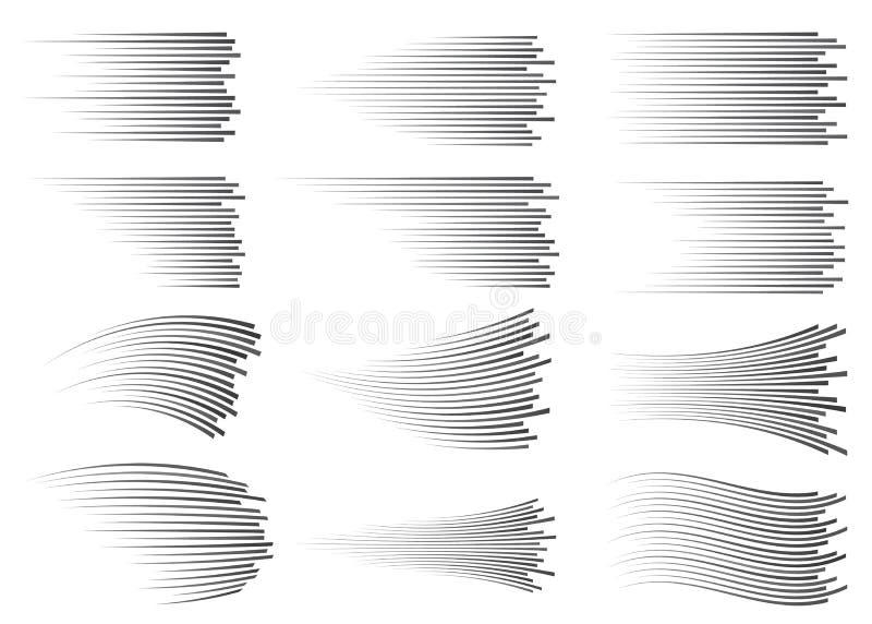 Isolerade hastighetslinjer Rörelseeffekt Svart fodrar på vit bakgrund vektor illustrationer