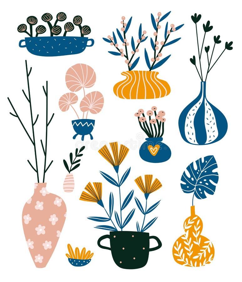 Isolerade hem- dekorbest?ndsdelar i utdragen stil f?r hand Scandinavian inredesign f?r vektor Inlagda blommor och vaser med filia royaltyfri illustrationer