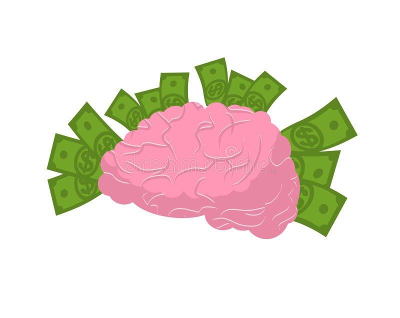 Isolerade hjärna och pengar Head människa för lampa mot begreppsmässig bakgrund Mänskliga hjärnor vektor illustrationer