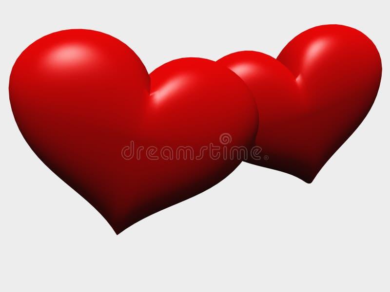 isolerade hjärtor älskar två royaltyfri illustrationer
