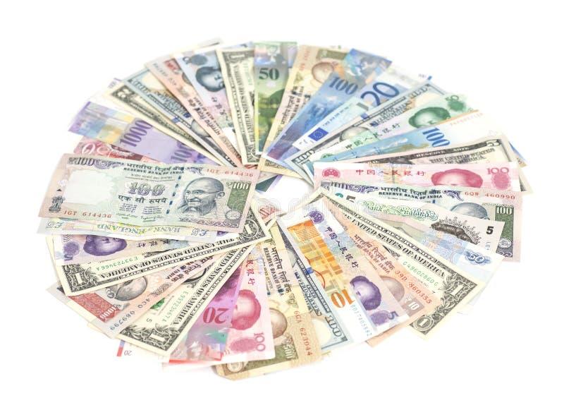 Isolerade internationella valutor arkivbild