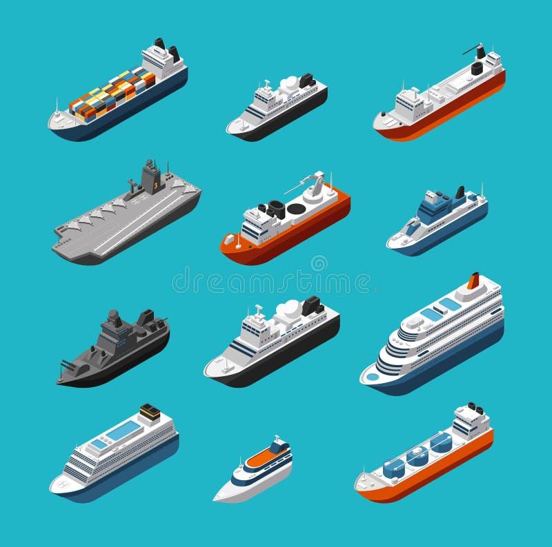 Isolerade isometriska symboler för passagerare och för vektortrans. för lastfartyg, för segelbåtar, för yachter och för skyttlar stock illustrationer