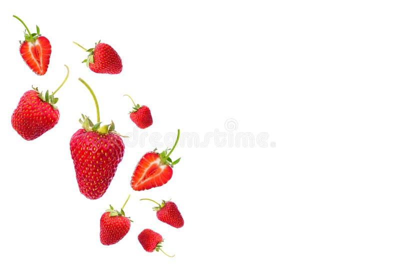 isolerade jordgubbar tre royaltyfri bild