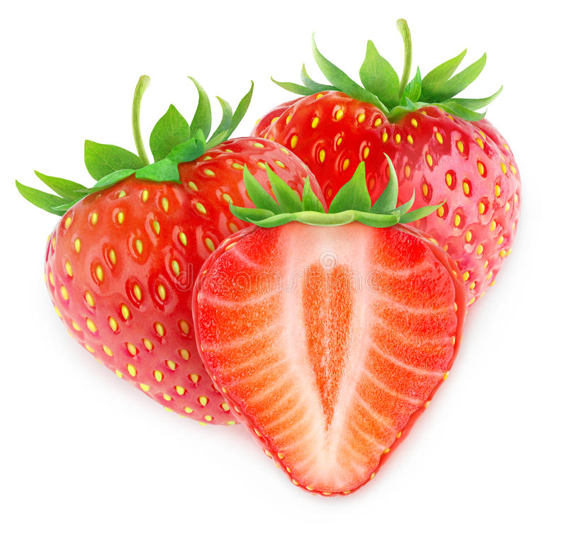 isolerade jordgubbar tre arkivbilder
