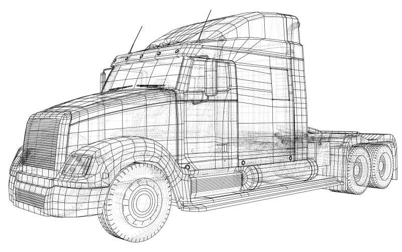 Isolerade kommersiell vektor för leveranslastlastbil för märkesidentitet och advertizing Skapad illustration av 3d tråd vektor illustrationer