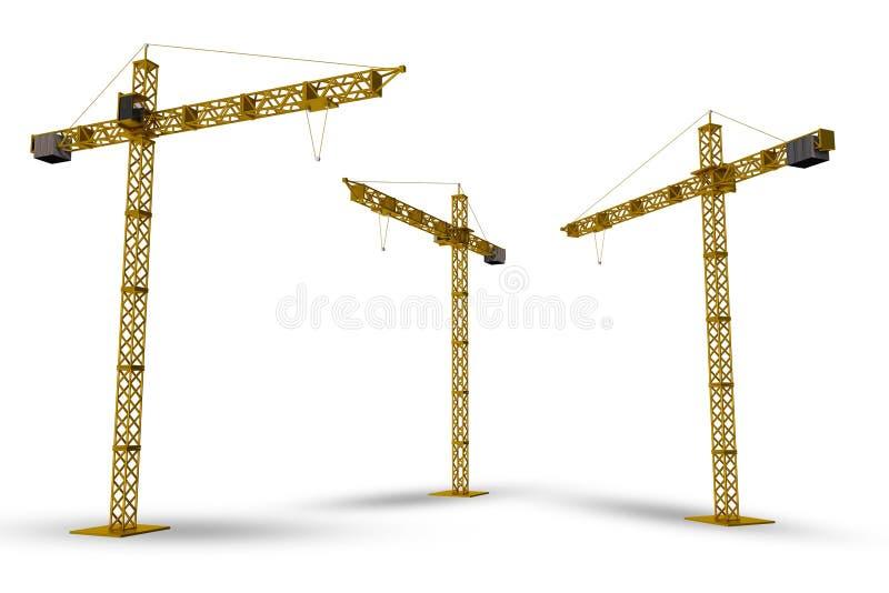 Isolerade konstruktionskranar royaltyfri illustrationer
