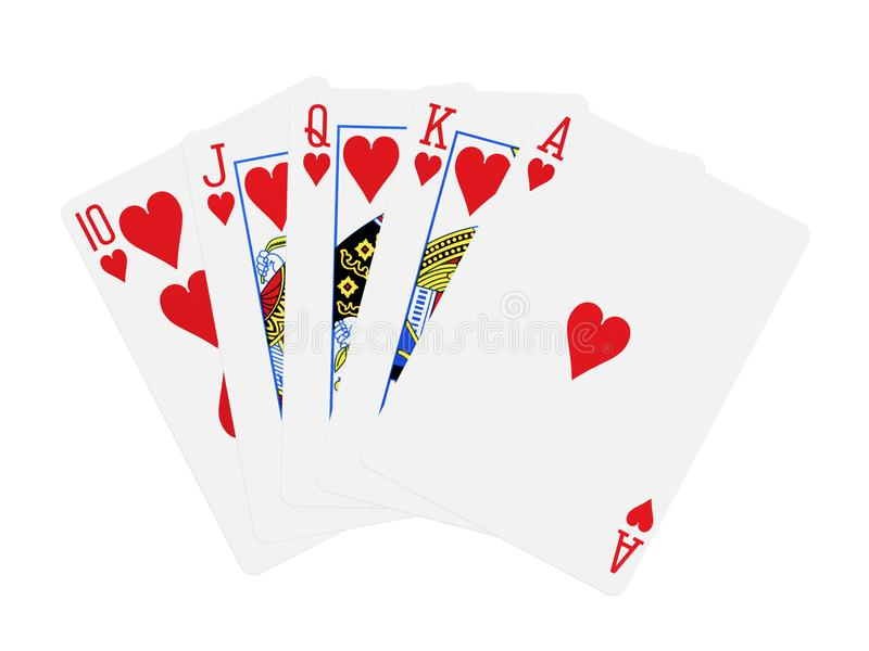 Isolerade kort för poker för kunglig spolning för hjärtor royaltyfria bilder