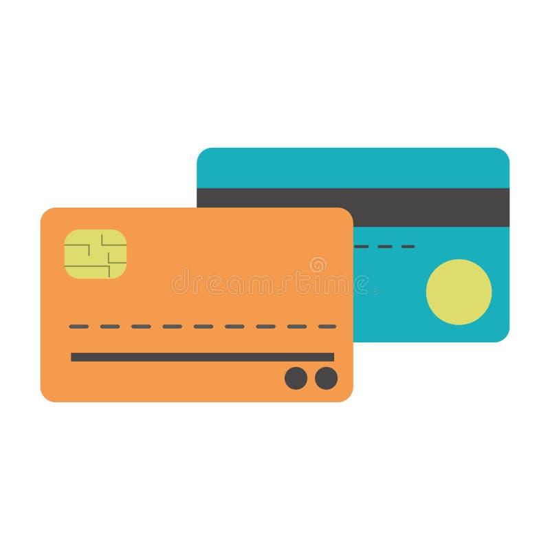 Isolerade kreditkortar stock illustrationer