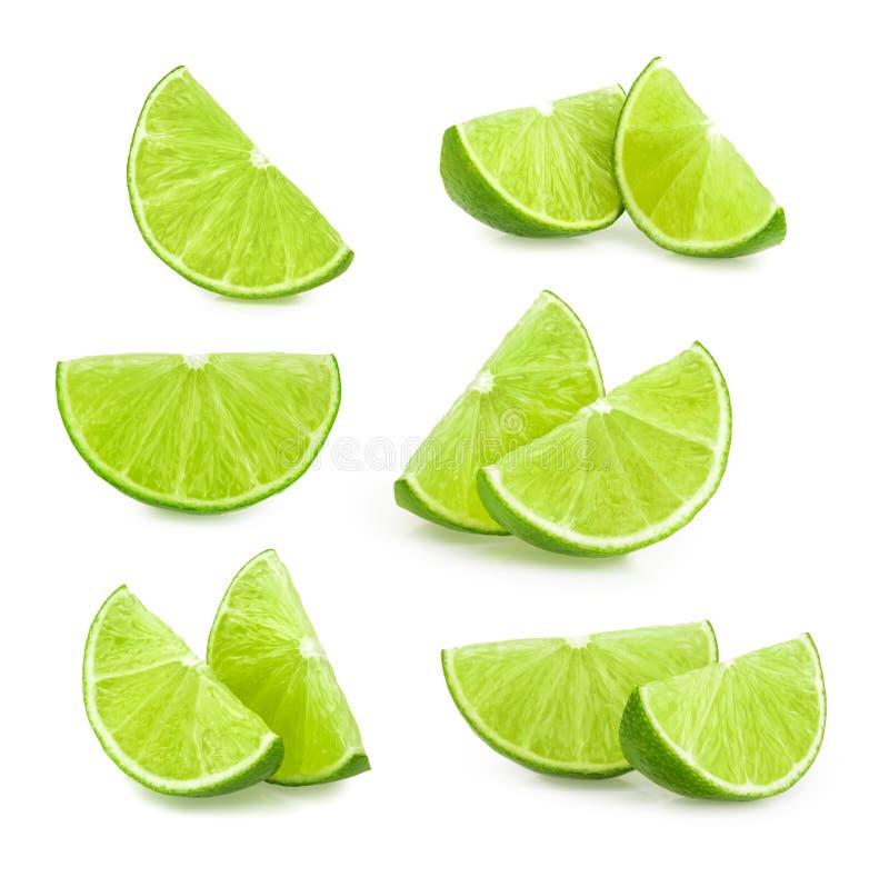 Isolerade limefruktskivor Uppsättning royaltyfri foto