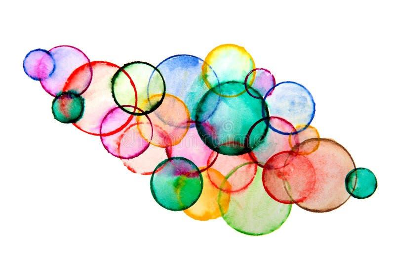 Isolerade mångfärgade cirklar för abstrakt vattenfärgbakgrund arkivfoton