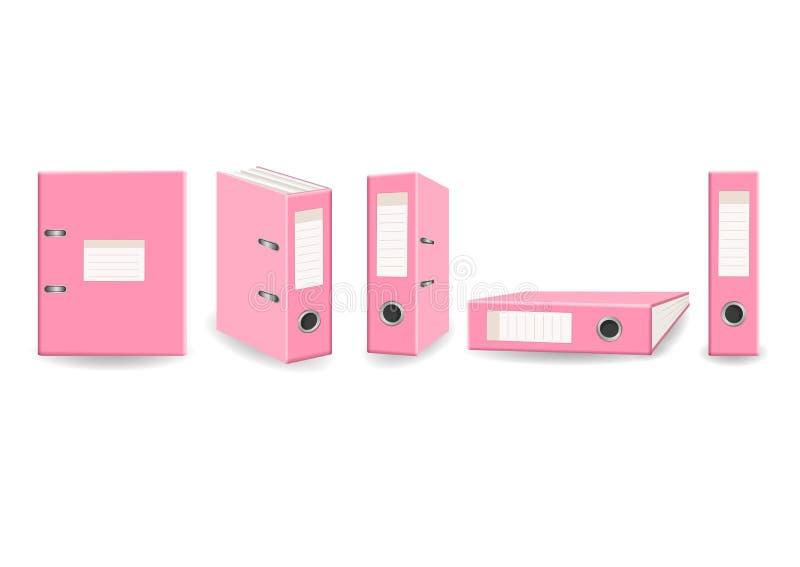 Isolerade mappar för mekanism för båge för kontor för gemkonst rosa ställde in stock illustrationer