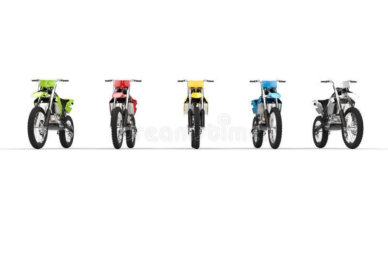 Isolerade motocrosscyklar fotografering för bildbyråer