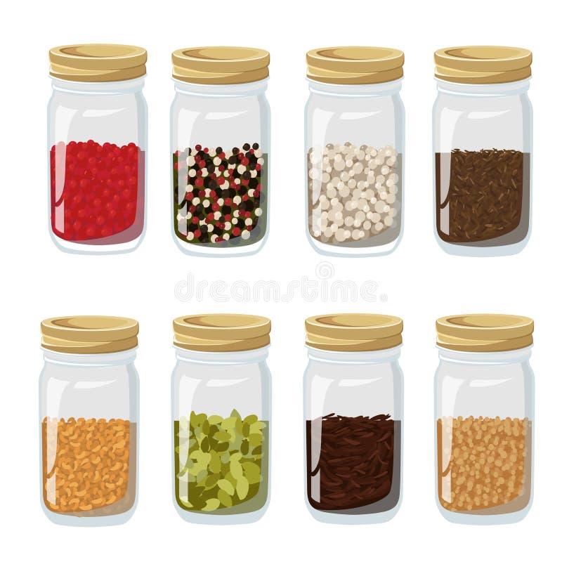 Isolerade och färgade örter kryddar krussymbolsuppsättningen i realistisk stil med olika kryddor inom illustrationwebbplatssidan stock illustrationer