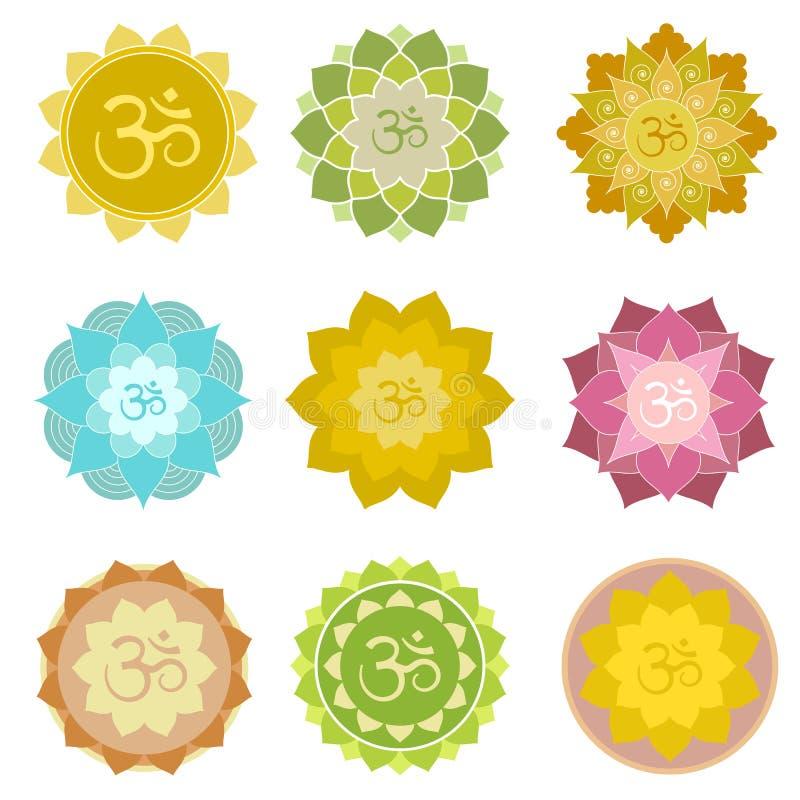 Isolerade Om-symboler royaltyfri illustrationer