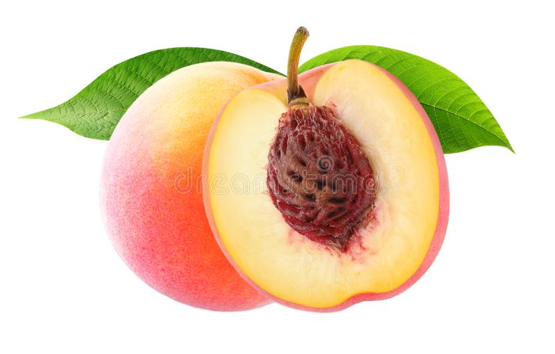 isolerade persikor två fotografering för bildbyråer
