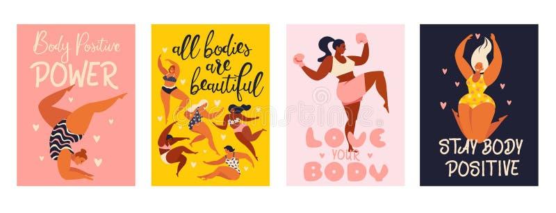 Isolerade positiva vertikala kort för feminismkropp med förälskelse till eget diagram, kvinnlig frihet, flickamakt vektorillustra royaltyfri illustrationer