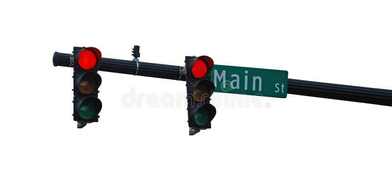 Isolerade r?da ljus p? Main Street arkivbild