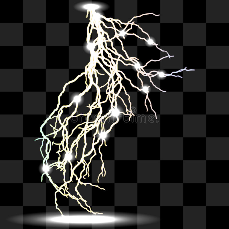 Isolerade realistiska blixtar med stordian vektor illustrationer